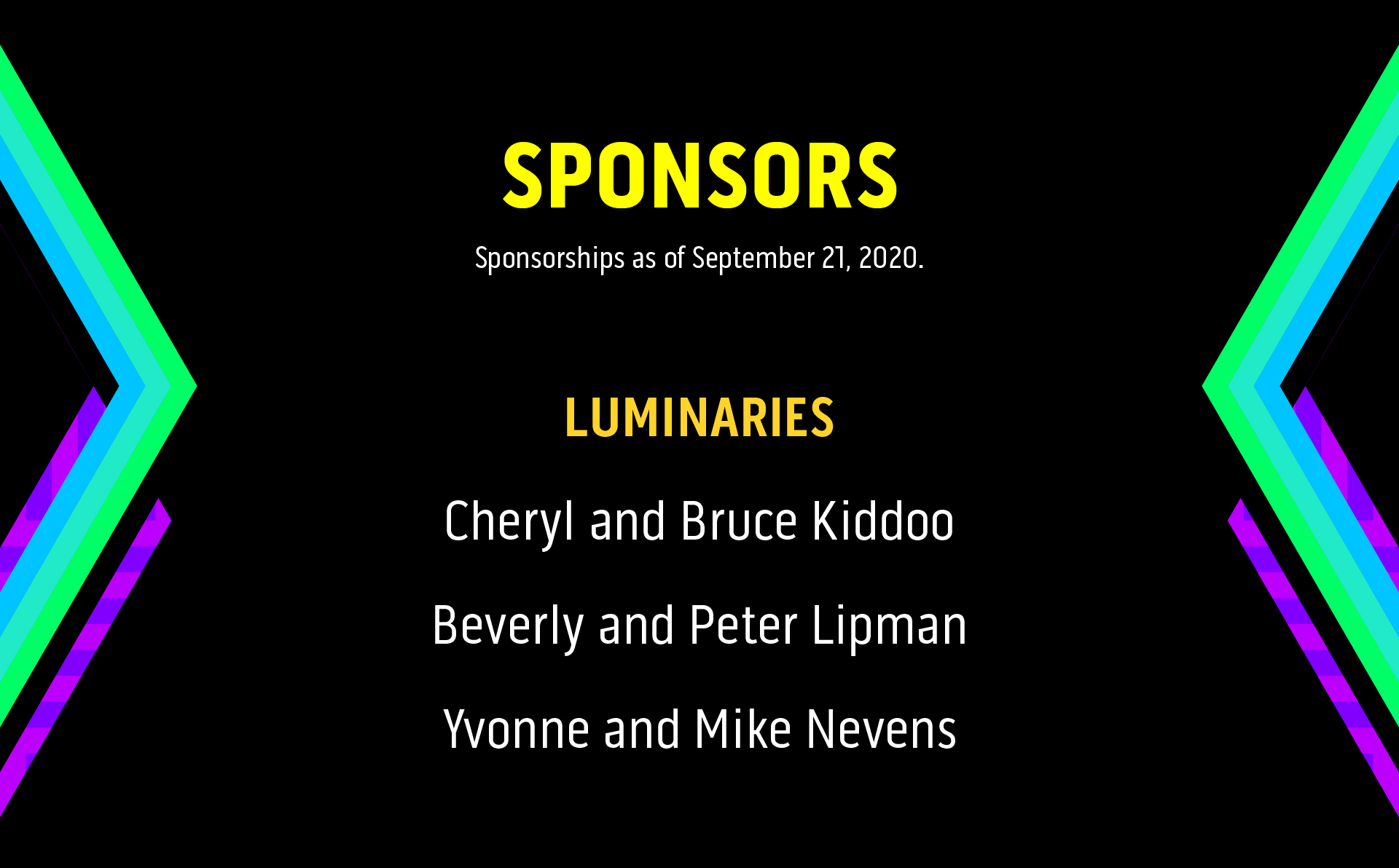 List of sponsor names at the Luminaries level