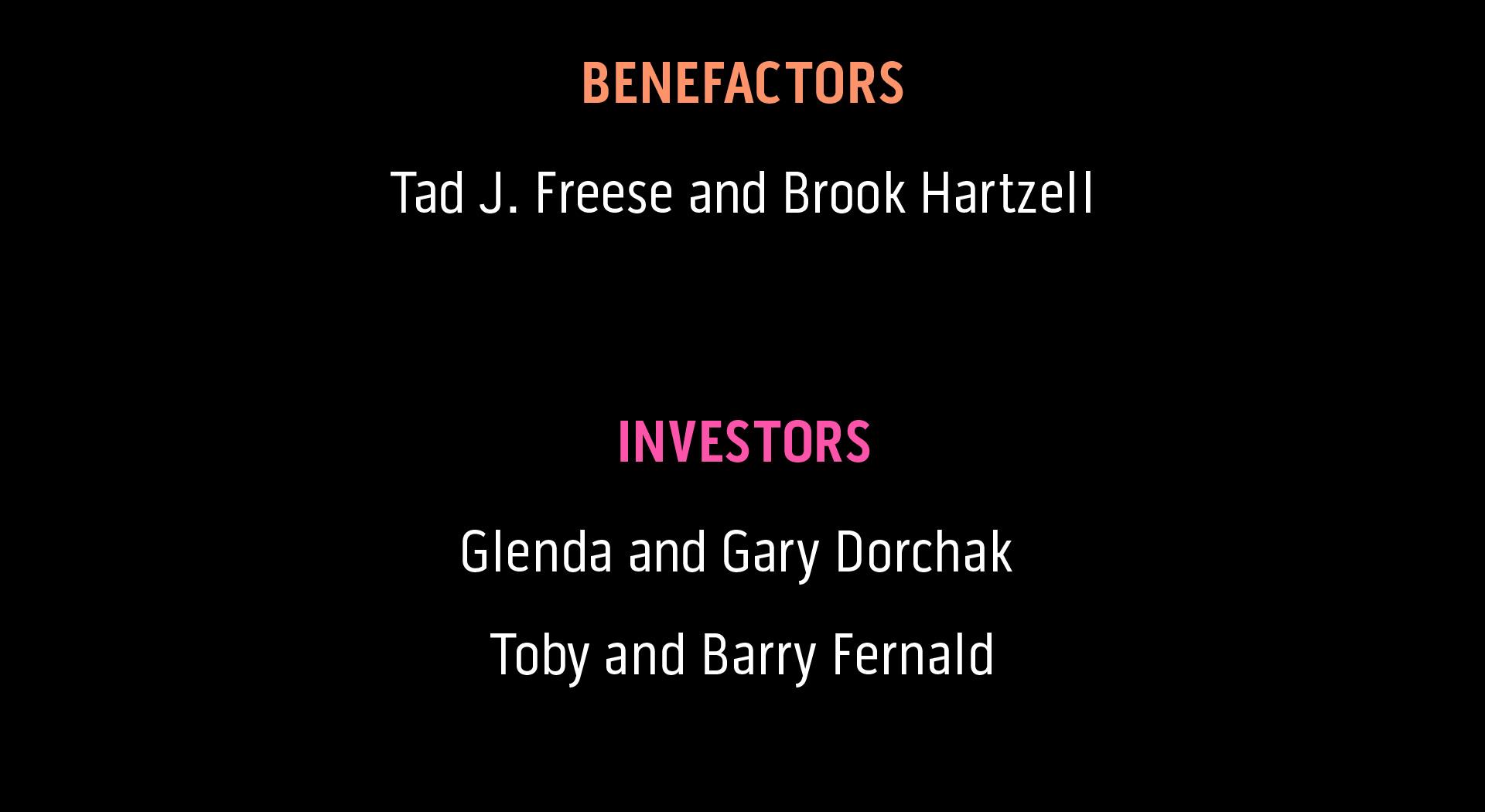 List of sponsor names at the Benefactor level