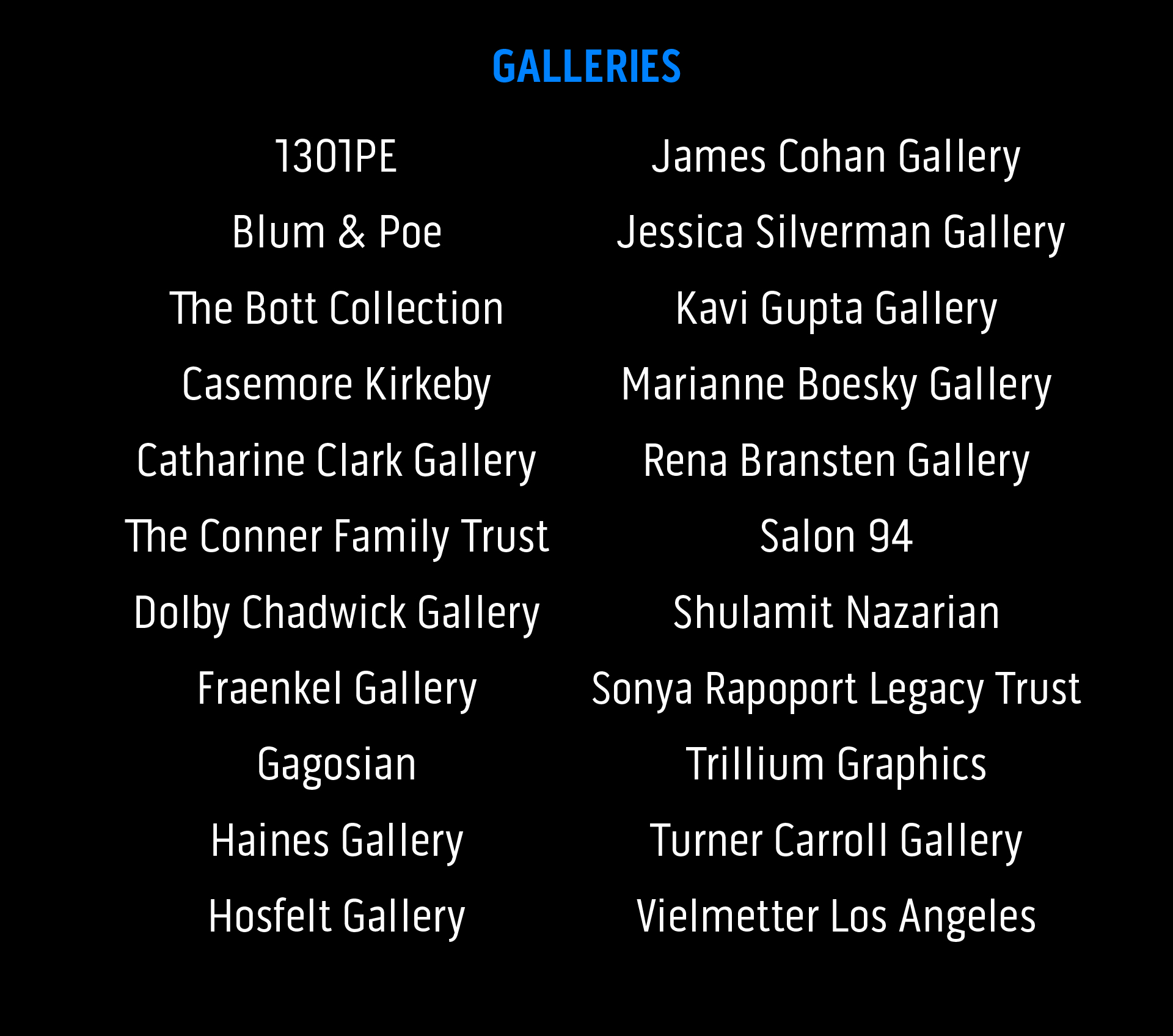 List of gallery names