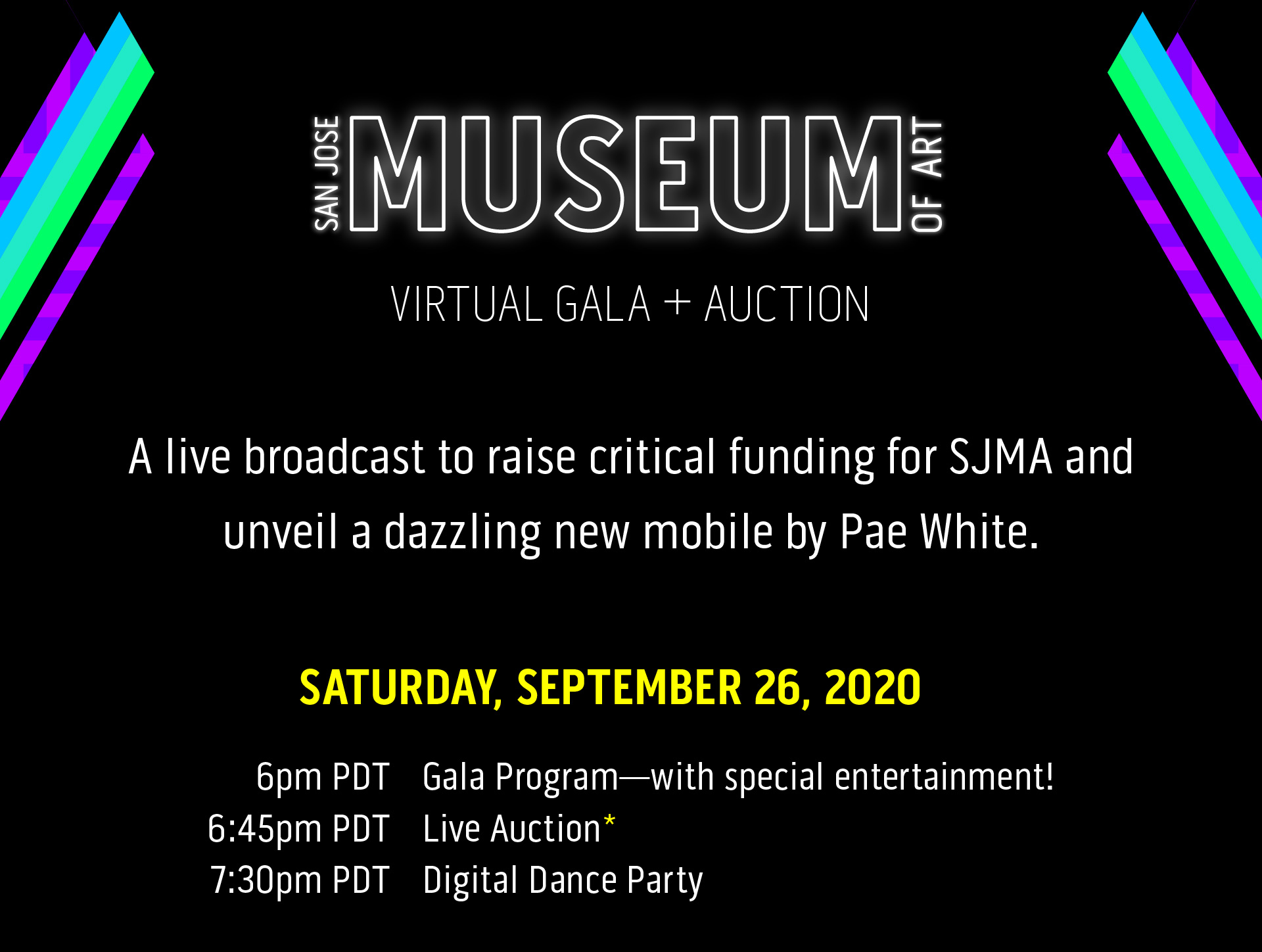 A live broadcast to raise critical funding for SJMA and unveil a dazzling new mobile by Pae White.
